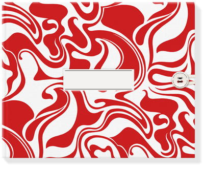 Designer curly swirls red bespoke photo book fabric