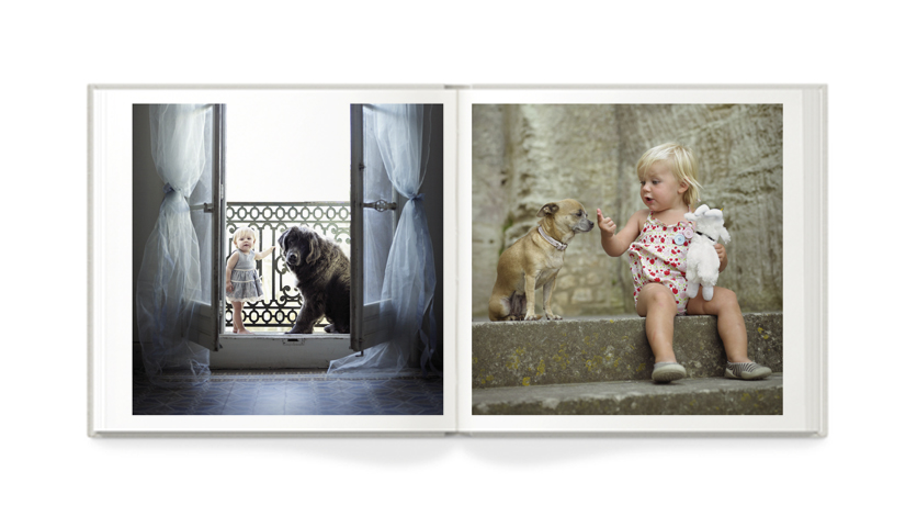 8x8 baby with dog photo 8x8 baby and pet photo