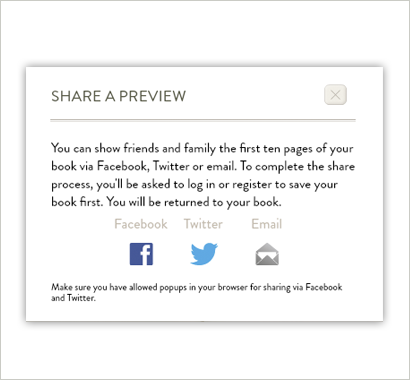 share a preview of your book on facebook, twitter or via email
